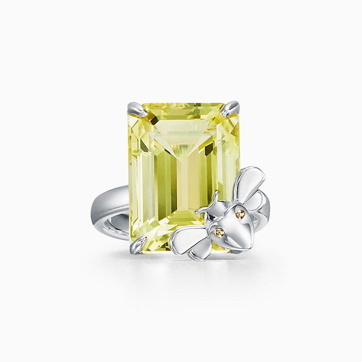 Return to Tiffany™ Love Bugs 系列:纯银和 18K 黄金镶嵌黄水晶蜜蜂戒指