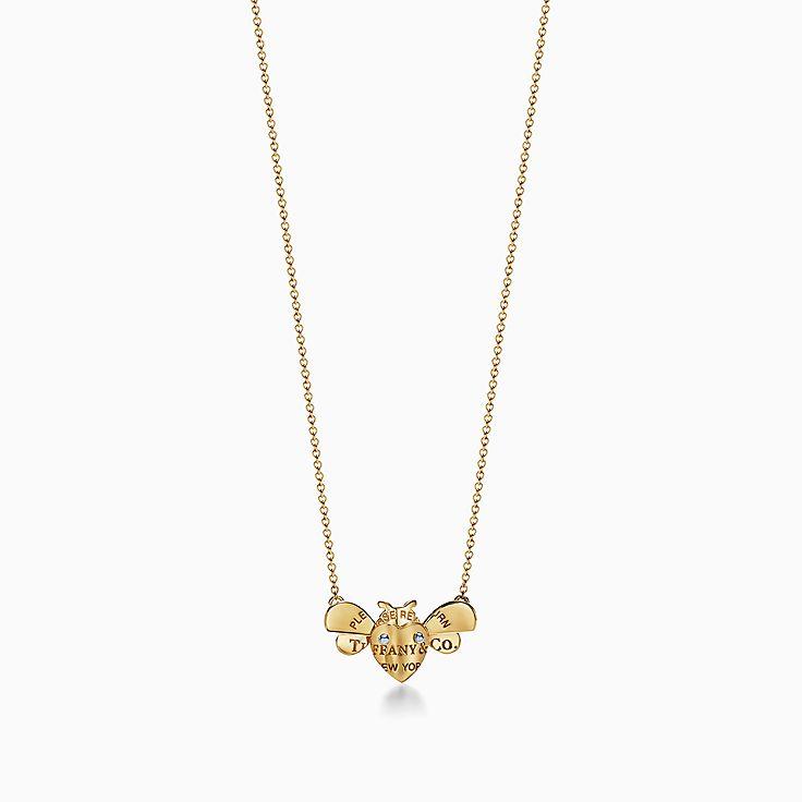 Return to Tiffany™ Love Bugs 系列:18K 黄金和纯银蜜蜂项链