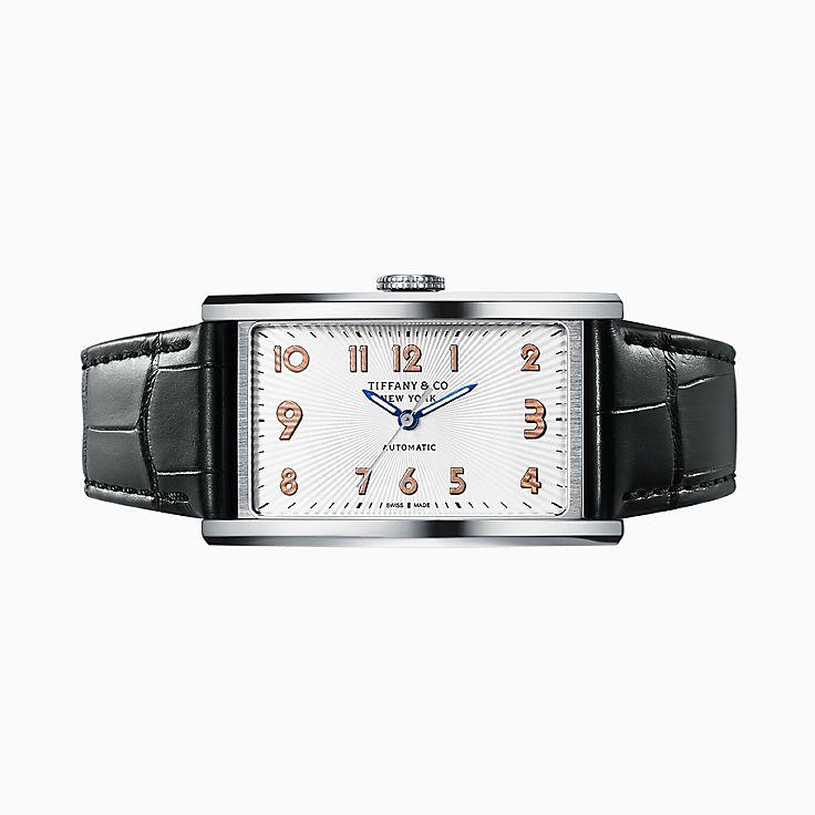 Tiffany East West® Automatic 系列:3-Hand 46.5 x 27.5 毫米腕表