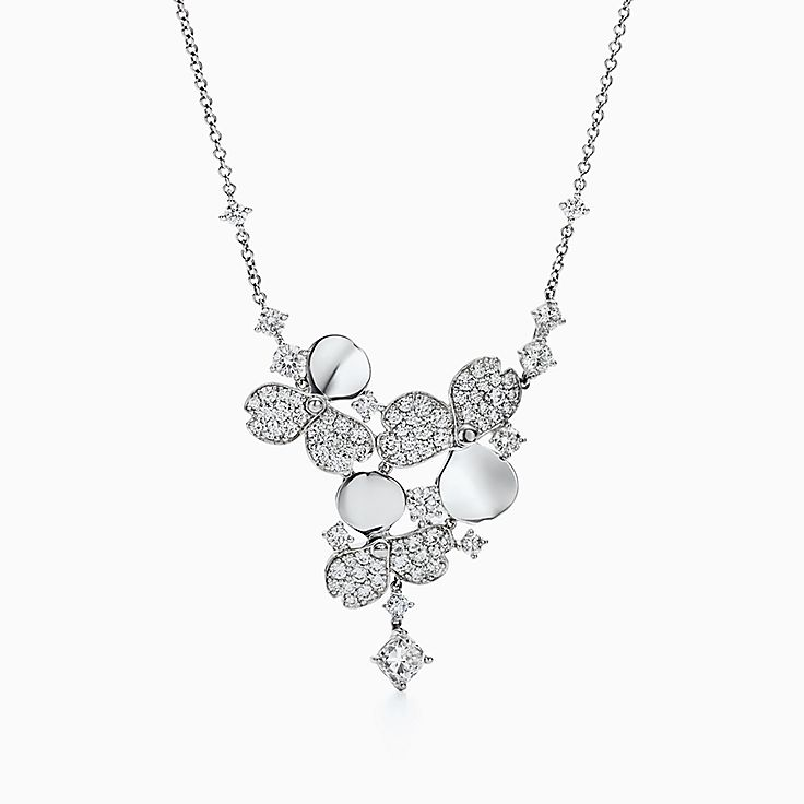 Tiffany Paper Flowers™ 花韵系列:镶钻花簇项链