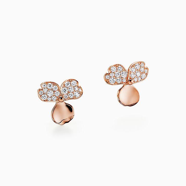 Tiffany Paper Flowers™ 花韵系列:镶钻花朵耳环