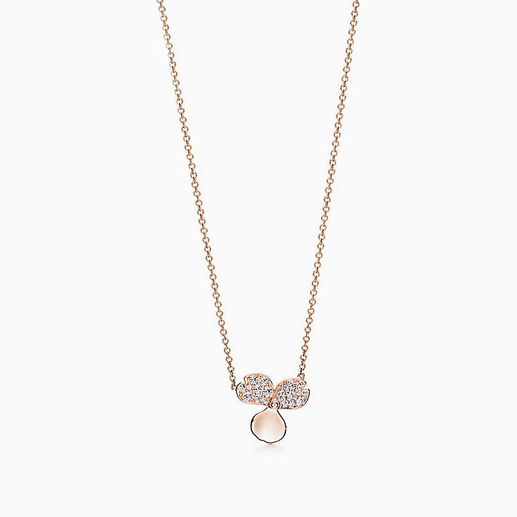 Tiffany Paper Flowers™ 花韵系列:镶钻花朵项链
