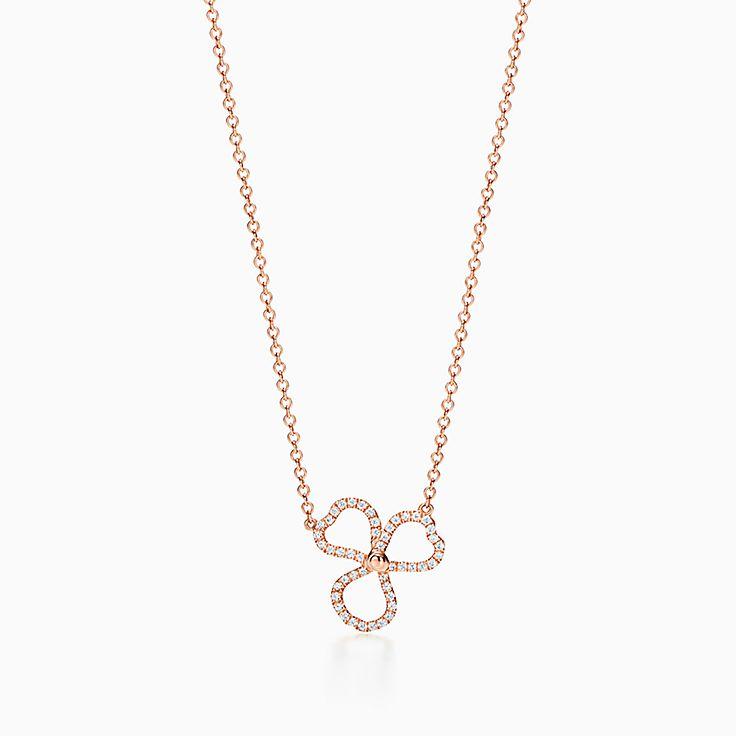 Tiffany Paper Flowers™ 花韵系列:镶钻镂空花朵项链