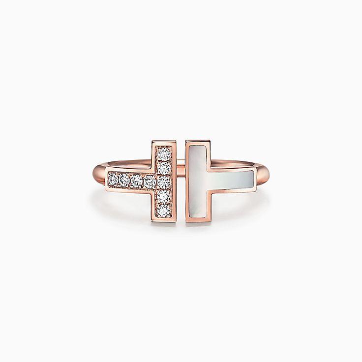 Tiffany T 系列:18K 玫瑰金镶嵌珍珠母贝和钻石方形戒指
