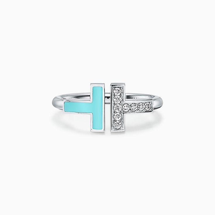 Tiffany T 系列:18K 白金镶嵌绿松石和钻石方形戒指