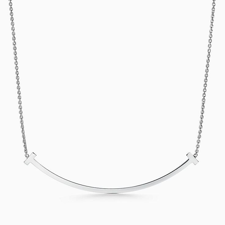 Tiffany T 系列:18K 白金特大号 Smile 项链