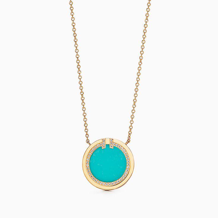 Tiffany T 系列:18K 黄金镶嵌绿松石和钻石 T Two 圈形项链,40.6-45.7 厘米