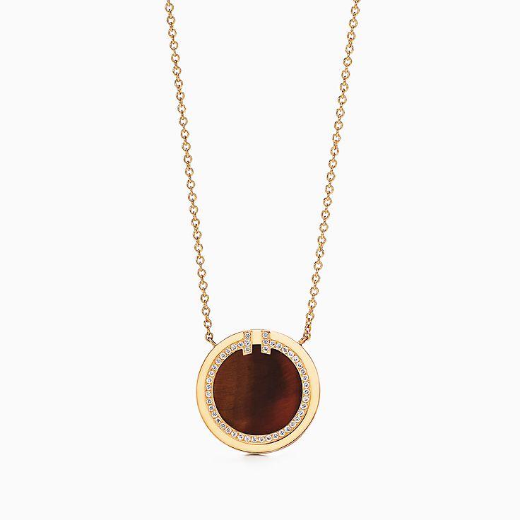 Tiffany T 系列:18K 黄金镶嵌虎眼石和钻石 T Two 圈形项链,40.6-45.7 厘米