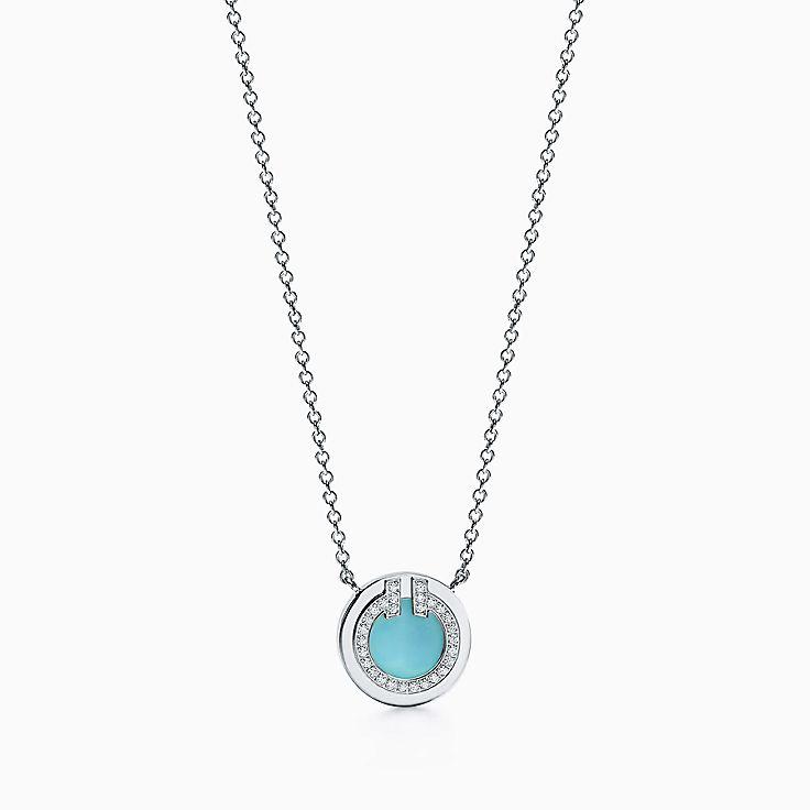 Tiffany T 系列:18K 白金镶嵌绿松石和钻石 T Two 圈形项链,40.6-45.7 厘米