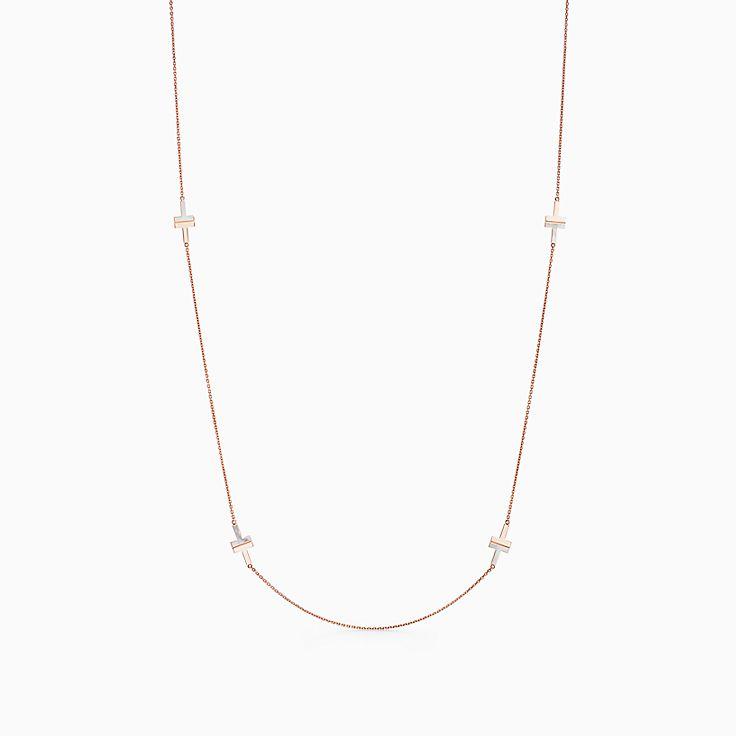 Tiffany T 系列:18K 玫瑰金镶嵌珍珠母贝 T Two 项链,81.3 厘米