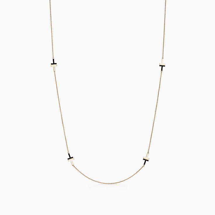 Tiffany T 系列:18K 黄金镶嵌黑色缟玛瑙 T Two 项链,81.3 厘米
