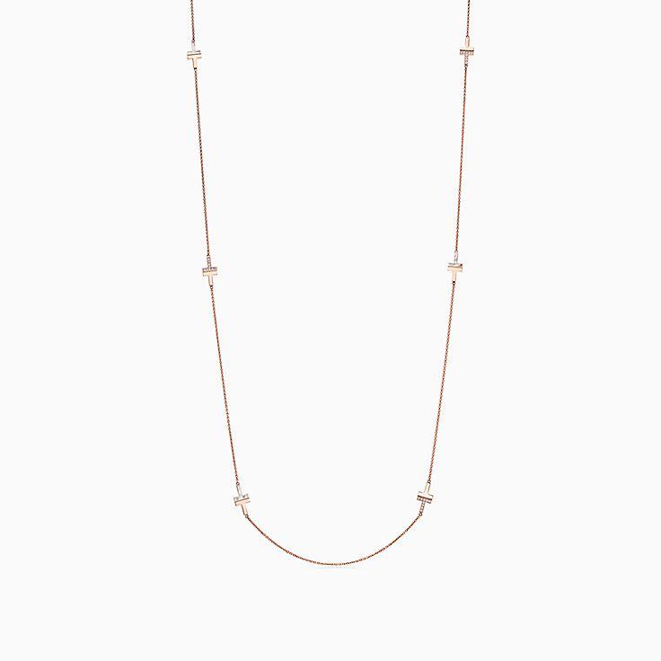 Tiffany T 系列:18K 玫瑰金镶嵌珍珠母贝和钻石 T Two 项链,81.3 厘米