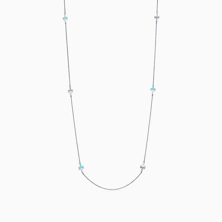 Tiffany T 系列:18K 白金镶嵌绿松石和钻石 T Two 项链,81.3 厘米