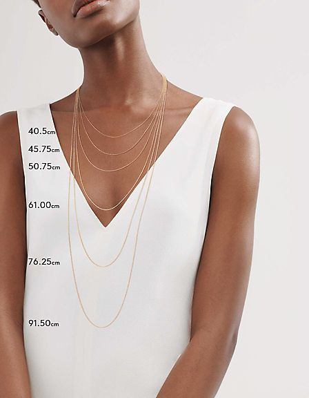 Model displaying necklace sizes